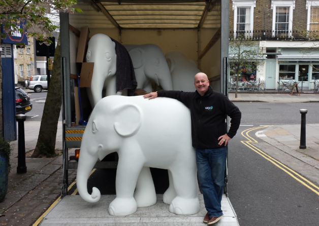 Delivery of blank elephants to artists
